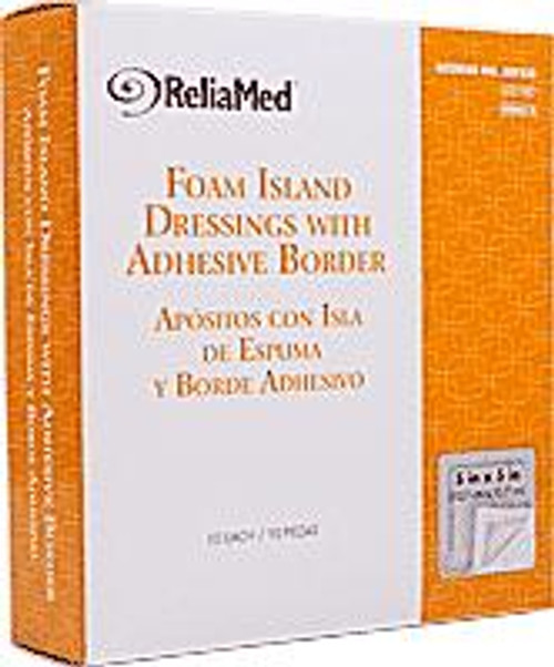 """ReliaMed Foam Island Dressing with Adhesive Border, Sterile, 5"""" x 5"""", 10/Box"""