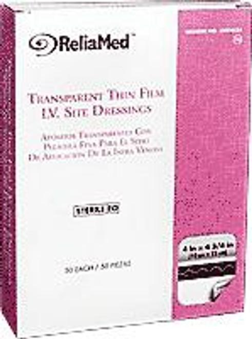 """ReliaMed Transparent Thin Film I.V. Site Dressing, Sterile, 4"""" x 4-3/4"""", 50/Box"""