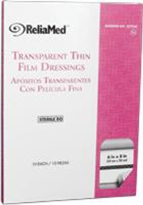 "ReliaMed Transparent Thin Film Adhesive Dressing, Sterile, 6"" x 8"", 10/Box"