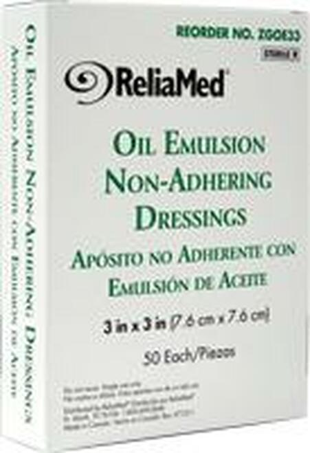 "ReliaMed Oil Emulsion Dressing 3"" x 3"", Sterile, Box of 50"