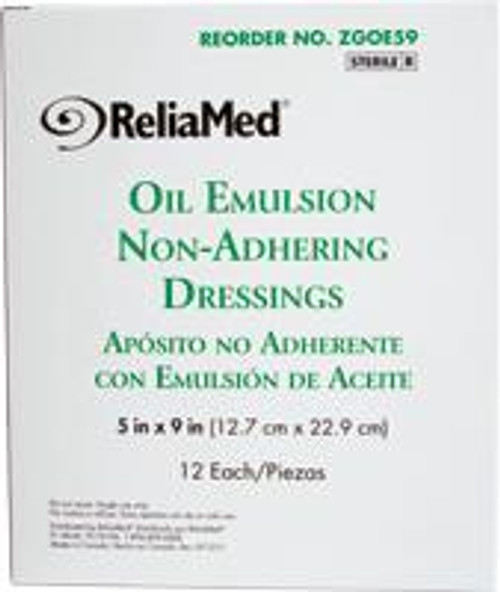 "ReliaMed Oil Emulsion Dressing 5"" x 9"", Sterile, Box of 12"