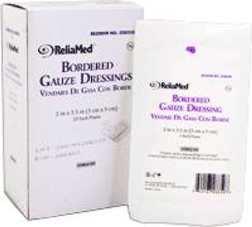"ReliaMed Bordered Gauze, 2"" x 3-1/2"", Sterile, 25/Box"