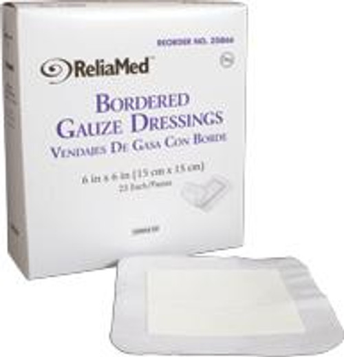 """ReliaMed Bordered Gauze, 6"""" x 6"""", Sterile, 25/Box"""