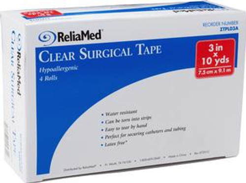 """ReliaMed 3"""" X 10 yds. Tape, Clear Plastic, Roll"""