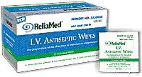 "ReliaMed I.V. Antiseptic Prep Wipes 1.25"" x 3 (50 count)"
