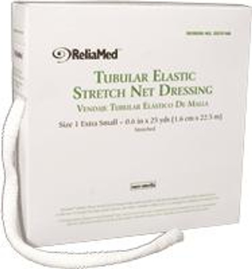 "ReliaMed Tubular Elastic Net Dressing, Size D, 3.1"" flat measurement, 10 yds."