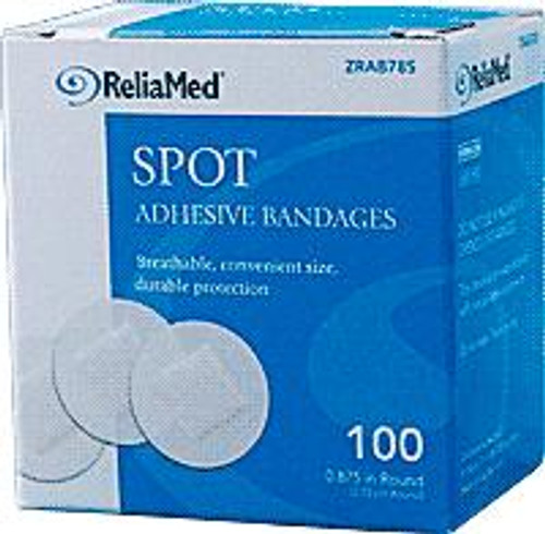 "ReliaMed Adhesive Bandage, 7/8"" Spot, Sheer Plastic, Sterile, 100/Box"