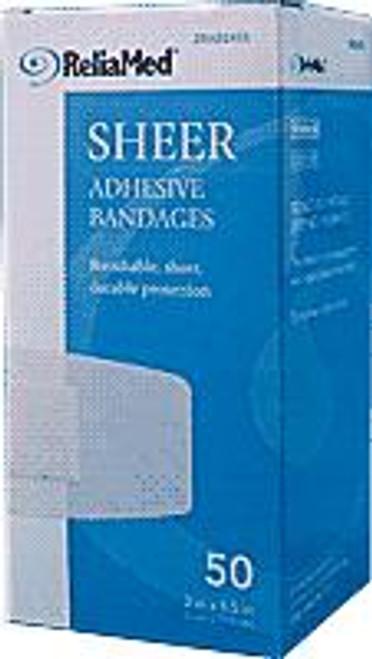 "ReliaMed Adhesive Bandage, 2"" X 4.5"", Sheer Plastic, Sterile, 50/Box"