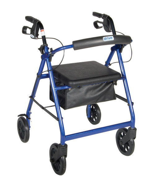 """Drive 4-Wheeled Rollator Walker with Fold Up Removable Back Support and Padded Seat - 6"""" Wheels Blue"""