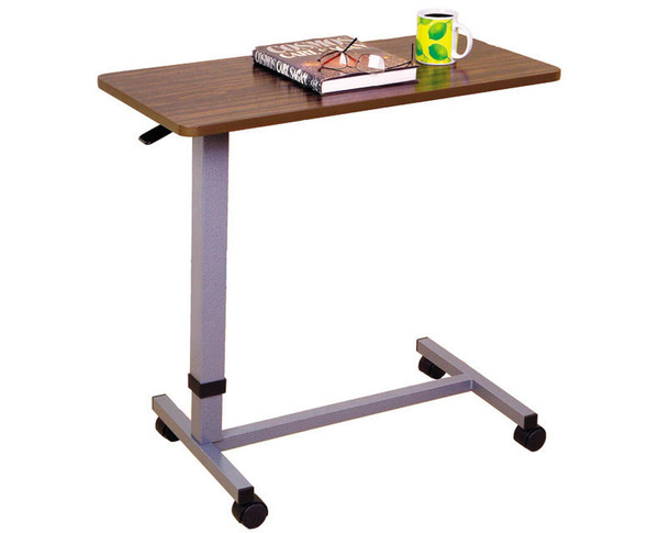 Essential Medical Automatic Adjustable Overbed Table with Woodgrain Top - MainImage