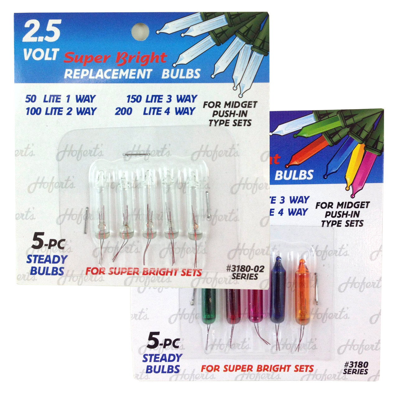 612 Vermont 2.5V Clear Mini Christmas Replacement Bulbs for Christmas Trees and