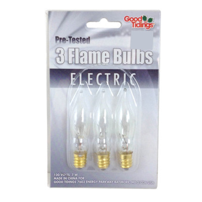 Clear Flame bulbs - 3 pack