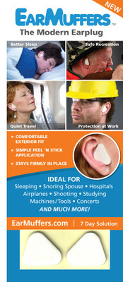 EarMuffers, The Modern Earplug, Just Peel and Stick for Swimmers, Construction Workers, Concerts, Sleeping, etc
