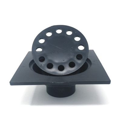 "6"" x 6"" ABS Bell Trap Drain, includes 4-9/16"" Bell Strainer (Black)"