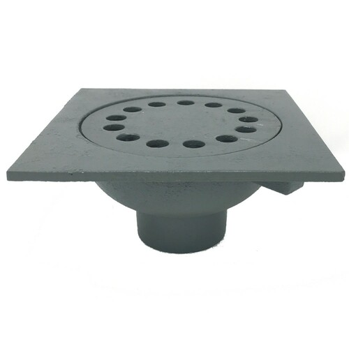"Bell Trap Drain, 9""x9"" Square Top, 6 3/4"" Drain Grate, 3"" No-Hub connection"
