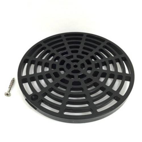 "Black Plastic Floor Drain Cover - 6-1/8"" with Tabs"