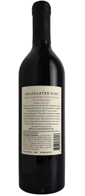 Calculated Risk 2018 Rutherford Cabernet