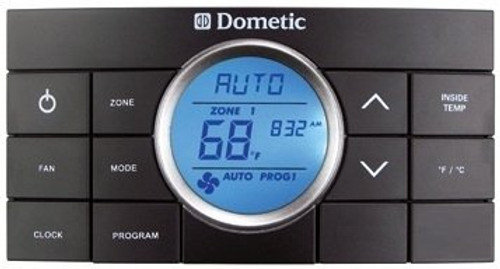 Wall Thermostat; Comfort Control Center II; Use With Dometic Air Conditioners; Multi Zone; Heat/ Cool/Heat Pump/ Heat Strip; Programmable; Digital Readout; 12 Volt DC; With High/ Low/ Auto Fan Speed Control; With Fan On/ Auto Mode; Black