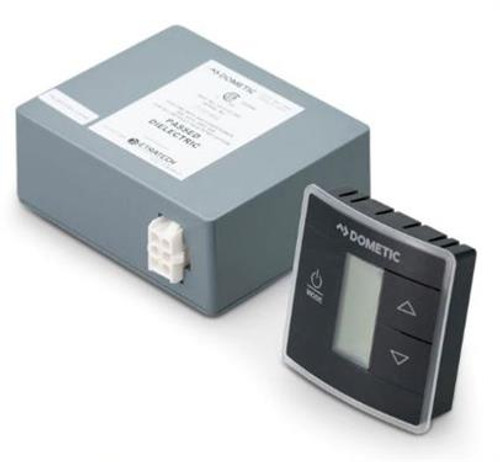 Wall Thermostat; Use With Dometic Air Conditioners; Single Zone; Cool/ Furnace/ Heat Strip/ Heat Pump; Programmable; LCD Display; 12 Volt DC; With Low/ High/ Auto Fan Speed Control; With Auto/ On Mode Fan Control; Black Capacitive Touch Case; Packaged In Box