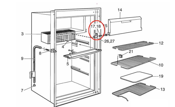 Dometic Freezer Door Spring Left 2932754019