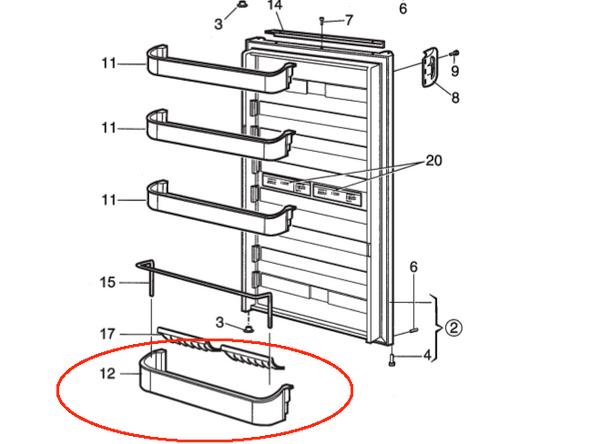 Dometic Bottom Door Shelf 2932575059 (clear)