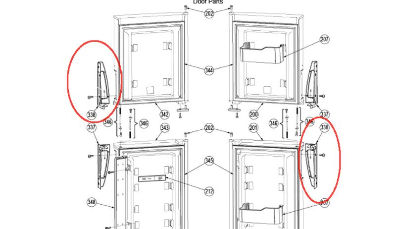 Dometic Refrigerator Door Handle (Bottom RH/ Top LH) 3851299010