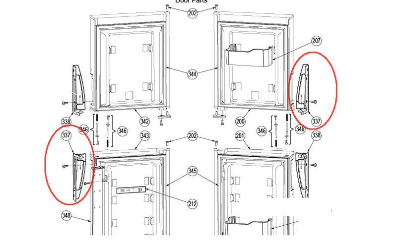 Dometic Refrigerator Door Handle (Bottom LH/Top RH) 3851299028