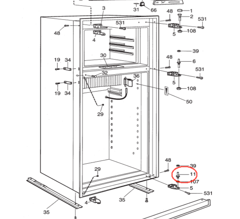 Dometic Lower Refrigerator Door Hinge Pin 2932649011 The Guy