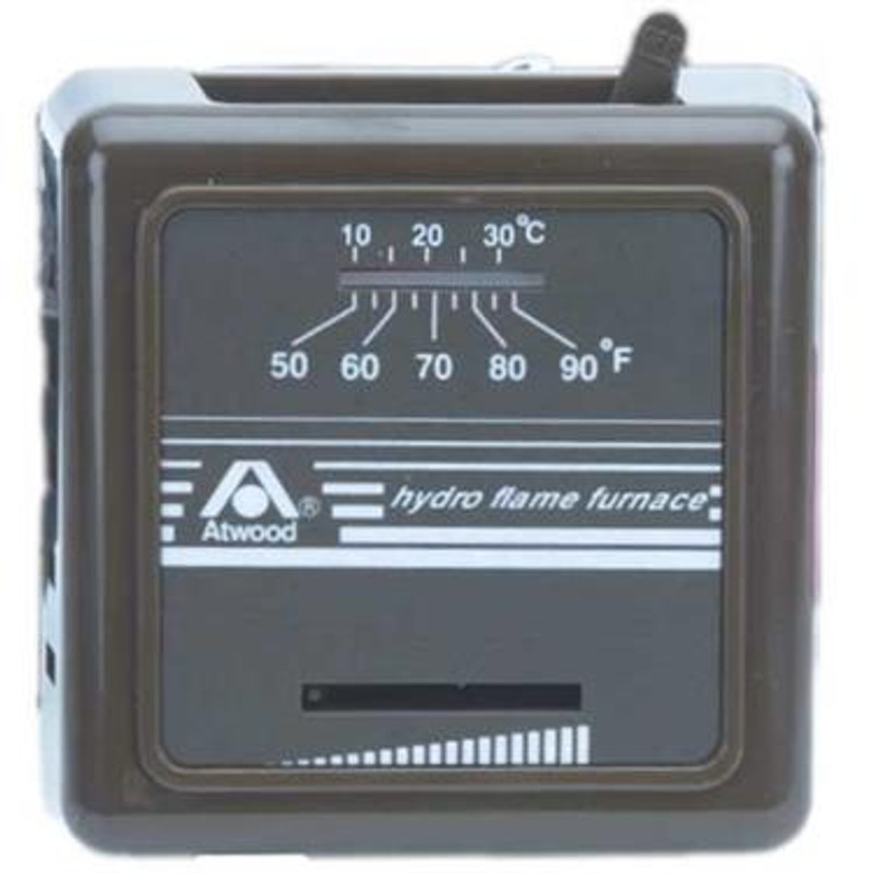 Wall Thermostat; Single Stage; For Heat Control; Not Programmable; Mechanical Readout; 12 Volt; Without Fan Speed Control; Without Fan On Mode or Auto Mode Control; Brown Case