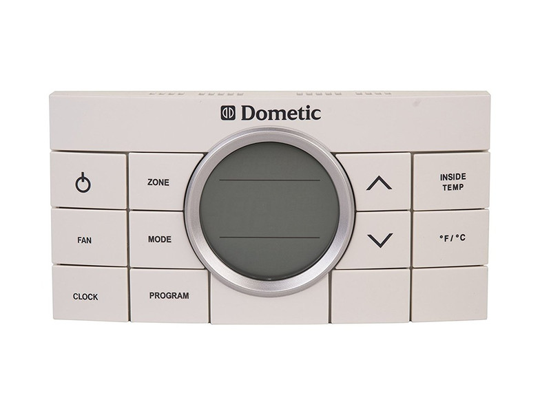 Wall Thermostat; Comfort Control Center II; Use With Dometic Air Conditioners; Multi Zone; Heat/ Cool/Heat Pump/ Heat Strip; Programmable; Digital Readout; 12 Volt DC; With High/ Low/ Auto Fan Speed Control; With Fan On/ Auto Mode; White