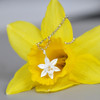 flower necklace gift ideas, idea from yellow daffodil sterling silver necklace, gift ideas for daffodil lovers
