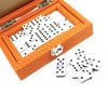 Hector Saxe Paris Double 6 Dominoes Set Couture Leather Orange