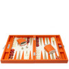 Backgammon game in leather Orange, perfect housewarming gift, anniversary gift ideas for couples, wedding anniversary gift ideas, unique gift ideas,