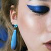 Blue wood earrings, blue cz earrings, drop earrings