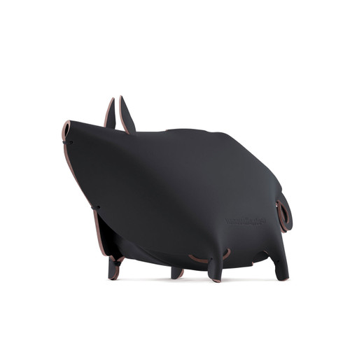 Recycled leather desk accessory piggy bank black, Chinese zodiac an Earth Pig year. In Chinese astrology, Years of the Pig include 1923, 1935, 1947, 1959, 1971, 1983, 1995, 2007, 2019, 2031,