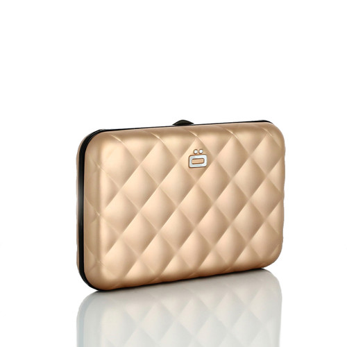 Stockholm Quilted Button Aluminium Wallet Credit Card Holder Rose Gold
