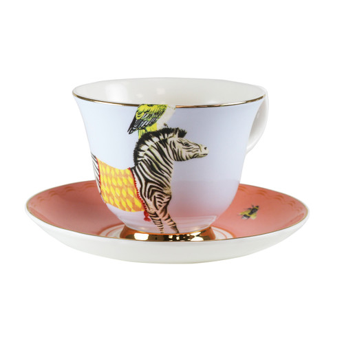 tea-party tea cup and saucer, great gift for tea lover, porcelain tea cup