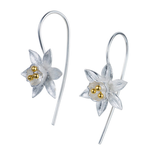 sterling silver daffodil earrings, modern flower sterling silver earrings