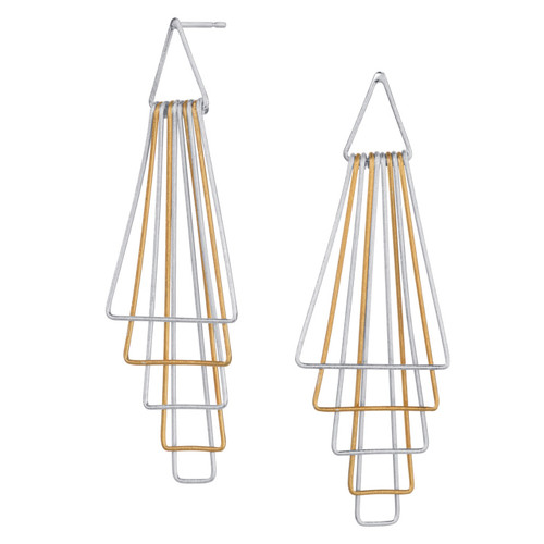 Christin Ranger Pyramid sterling silver gold plated earrings