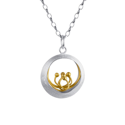 Christin Ranger Sterling Silver with 18 carat Gold Plated Details Little Water Feature Pendant