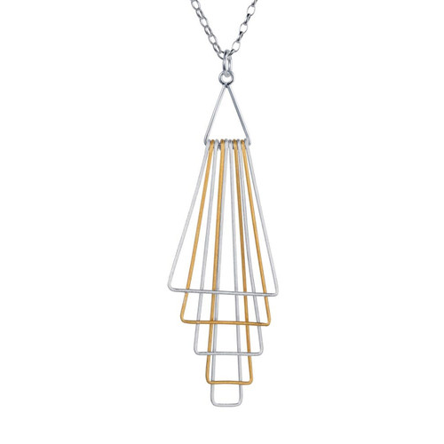 Christin Ranger Sterling Silver and Gold Plated Pyramid Pendant