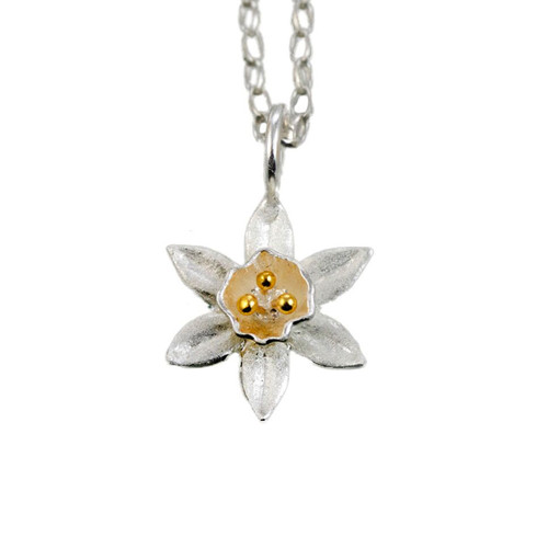 daffodil sterling silver pendant, thoughtful silver necklace gift, gift ideas for coworkers, gift ideas for sweetheart