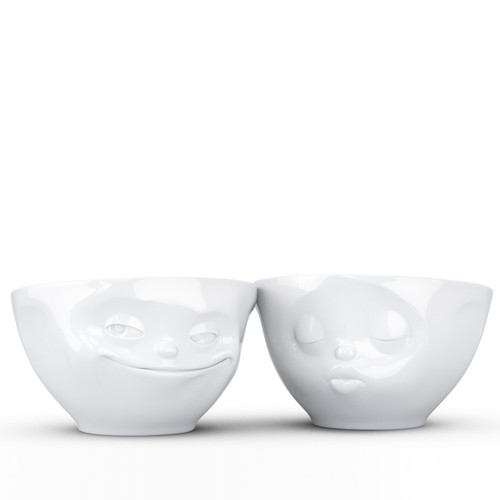 Fiftyeight Products Medium Bowls Set Grinning & Kissing 200 ml, Hard porcelain small bowls for snack, hard porcelain bowls for kids, gift ideas for kids, gifts for friends, gift ideas for teen girls, gift ideas for teens, funny gift ideas, cute porcelain bowls, gift small white bowls