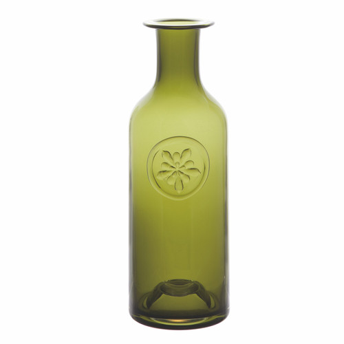 handmade olive green flower Bottle vase, birthday gift ideas for him, decorative glass flower bottle