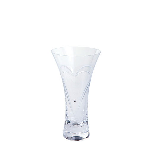 Small Romance crystal clear Vase with Swarovski Crystal, glass gifts with engraved heart, valentine's gift ideas