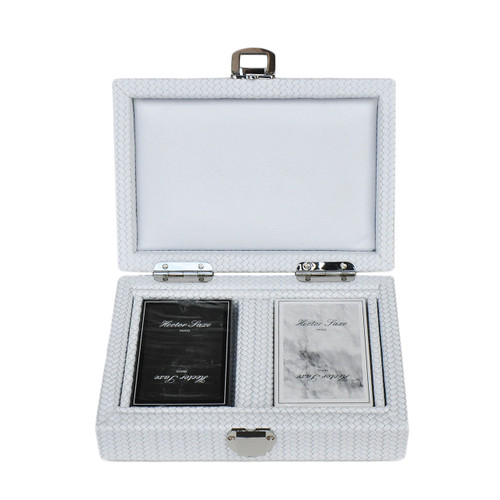 Cards set in White leather case, lux gift ideas for couples,  luxury gift ideas, thoughtful gift ideas for parents