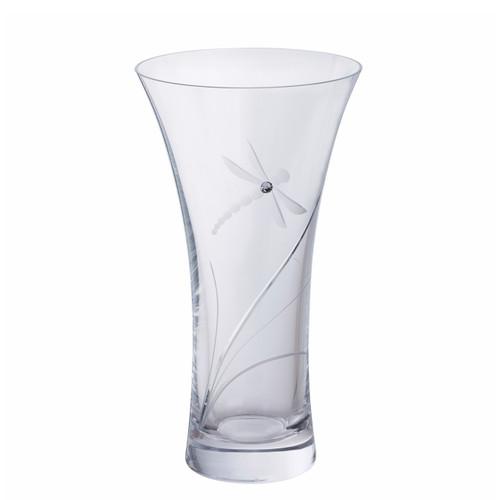 Crystal Glitz Dragonfly medium vase, hand engraved dragonfly with Swarovski crystal