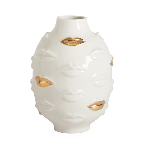 Guilded muse gala round vase with real gold lips, unique porcelain vases,