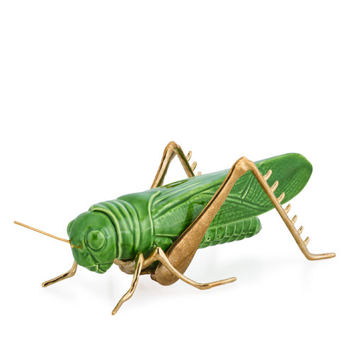 ceramic grasshopper with golden legs, gift ideas for friend,