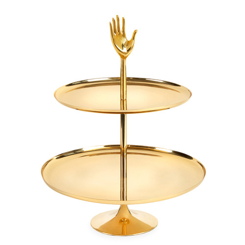 two tier brass tray, lux tray, golden tray